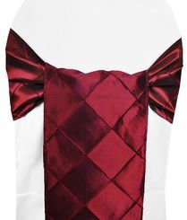 "9.5"" x 108"" Pintuck Taffeta Chair Sashes - Burgundy 60110 (10pcs/pk)"