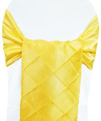 "9.5"" x 108"" Pintuck Taffeta Chair Sashes - Canary Yellow 60116 (10pcs/pk)"