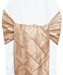 "9.5"" x 108"" Pintuck Taffeta Chair Sashes - Champagne 60128 (10pcs/pk)"