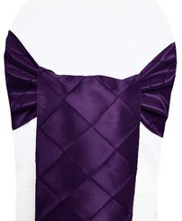 "9.5"" x 108"" Pintuck Taffeta Chair Sashes - Eggplant 60145 (10pcs/pk)"