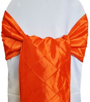 Pintuck Taffeta Chair Sashes - Orange 60133 (10pcs/pk)