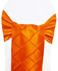"9.5"" x 108"" Pintuck Taffeta Chair Sashes - Orange 60133 (10pcs/pk)"
