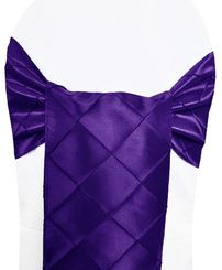 "9.5"" x 108"" Pintuck Taffeta Chair Sashes - Regency Purple 60163 (10pcs/pk)"