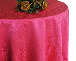 "90"" Marquis Jacquard Damask Polyester Tablecloth - Fuchsia  98309(1pc/pk)"