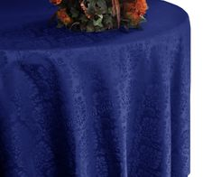 "90"" Marquis Jacquard Damask Polyester Tablecloth - Navy Blue  98323(1pc/pk)"