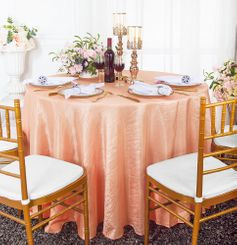 "90"" Round Crushed Taffeta Tablecloth - Apricot/Peach 61631(1pc/pk)"