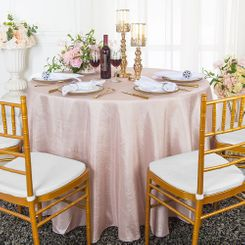 "90"" Round Crushed Taffeta Tablecloth - Blush Pink 61615(1pc/pk)"