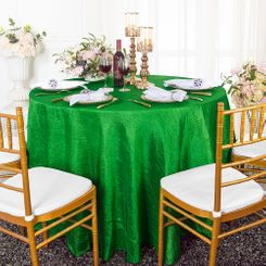 "90"" Round Crushed Taffeta Tablecloth - Emerald Green 61638(1pc/pk)"