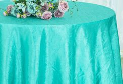 "90"" Round Crushed Taffeta Tablecloth - Pool Blue 61678(1pc/pk)"