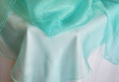 "90"" Round Organza Table Overlay - Tiff Blue / Aqua Blue 55018(1pc/pk)"