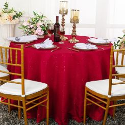 "90"" Round Paillette Poly Flax / Burlap Tablecloth - Apple Red 10608 (1pc/pk)"