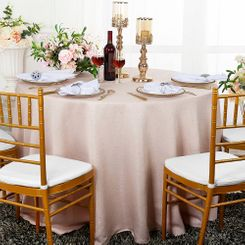 "90"" Round Paillette Poly Flax / Burlap Tablecloth - Blush Pink10615 (1pc/pk)"