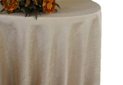 "90"" Round Paillette Poly Flax / Burlap Tablecloth - Champagne 10628 (1pc/pk)"