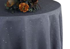 "90"" Round Paillette Poly Flax / Burlap Tablecloth - Pewter 10660 (1pc/pk)"