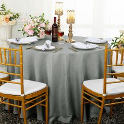 "90"" Round Paillette Poly Flax / Burlap Tablecloth - Silver 10640 (1pc/pk)"