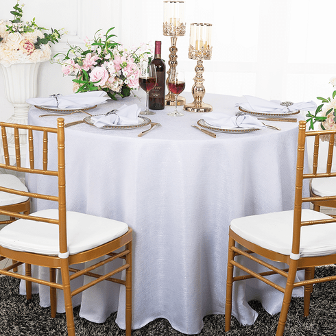 "90"" Round Paillette Poly Flax / Burlap Tablecloth - White 10601 (1pc/pk)"