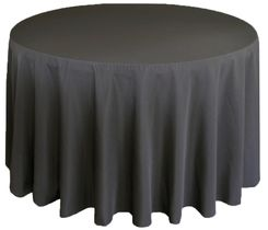 """90"""" Round Polyester Tablecloth - Pewter 53160 (1pc/pk)"""