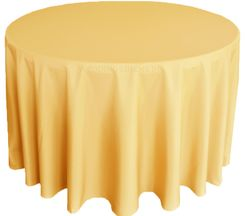 """90"""" Round Polyester Tablecloths - Gold 53127 (1pc/pk)"""