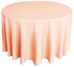 """90"""" Round Polyester Tablecloths - Peach / Apricot 53131 (1pc/pk)"""