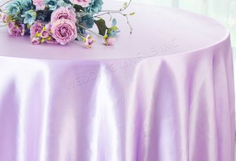 "90"" Round Satin Tablecloth - Lavender 55511(1pc/pk)"