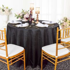 "90"" Round Crushed Taffeta Tablecloth - Black 61639(1pc/pk)"