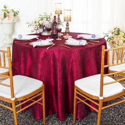 "90"" Round Crushed Taffeta Tablecloth - Burgundy 61610(1pc/pk)"