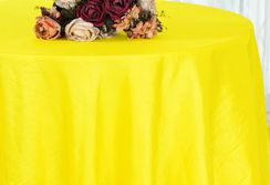 "90"" Round Crushed Taffeta Tablecloth - Canary Yellow 61616(1pc/pk)"