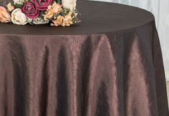"90"" Round Crushed Taffeta Tablecloth - Chocolate 61691(1pc/pk)"