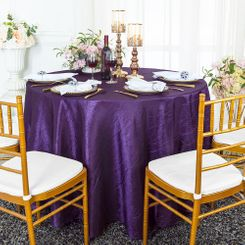 "90"" Round Crushed Taffeta Tablecloth - Eggplant 61645(1pc/pk)"