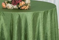 "90"" Round Crushed Taffeta Tablecloth - Moss Green 61617(1pc/pk)"