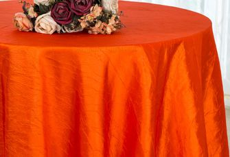 "90"" Round Crushed Taffeta Tablecloth - Orange 61633(1pc/pk)"
