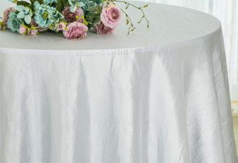"90"" Round Crushed Taffeta Tablecloth - Platinum 61650(1pc/pk)"