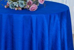 "90"" Round Crushed Taffeta Tablecloth - Royal Blue 61622(1pc/pk)"