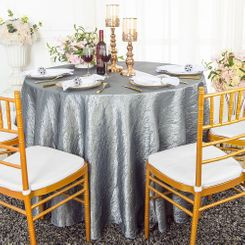 "90"" Round Crushed Taffeta Tablecloth - Silver 61640(1pc/pk)"