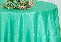 "90"" Round Crushed Taffeta Tablecloth - Tiff Blue / Aqua Blue 61618(1pc/pk)"