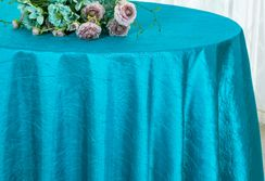 "90"" Round Crushed Taffeta Tablecloth - Turquoise 61685(1pc/pk)"
