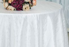 "90"" Round Crushed Taffeta Tablecloth -White 61601(1pc/pk)"