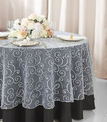 "90"" Round Embroidered Organza Table Overlays (31 Colors)"
