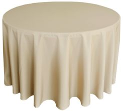 """90"""" Round Polyester Tablecloth - Champagne 53128 (1pc/pk)"""