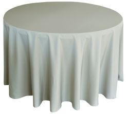 """90"""" Round Polyester Tablecloth - Silver 53140(1pc/pk)"""