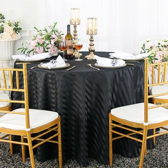 """90"""" Round Striped Jacquard Polyester Tablecloths (7 colors)"""