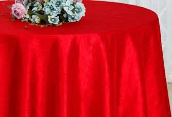 """90"""" Seamless Round Crushed Taffeta Tablecloth - Red 61612 (1pc/pk)"""