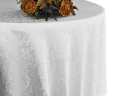 "90"" Round Jacquard Damask Polyester Tablecloth - White (1pc/pk)"