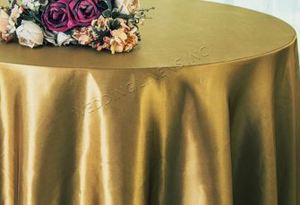"90"" Round Satin Table Overlay - Antique Gold 55529 (1pc/pk)"