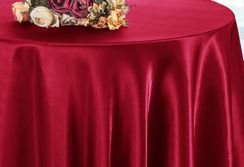 "90"" Round Satin Table Overlay - Apple Red 55508 (1pc/pk)"