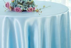 "90"" Round Satin Table Overlay - Baby Blue 55520 (1pc/pk)"