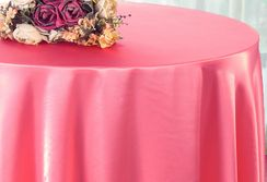 "90"" Round Satin Table Overlay - Bubble Gum 55535 (1pc/pk)"