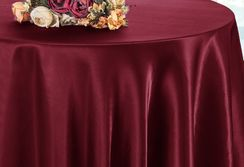 "90"" Round Satin Table Overlay - Burgundy 55510 (1pc/pk)"