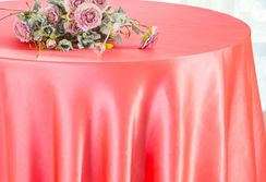 "90"" Round Satin Table Overlay - Coral 55506 (1pc/pk)"