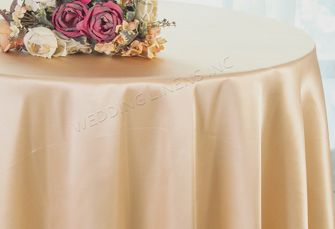 """90"""" Round Satin Table Overlay - Champagne 55528 (1pc/pk)"""